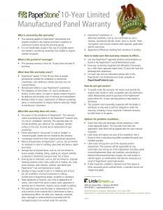 10 Year Limited Panel Warranty